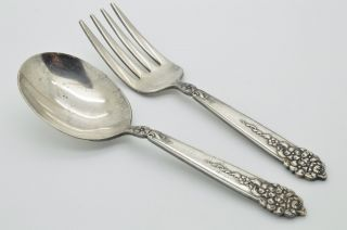Vintage Baby Child ' S Set Fork & Spoon 1951 King Edward Silver Plate National photo