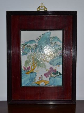 Estate Framed Chinese Painted Porcelain Landscape Plaque 20th C photo