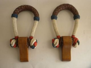 Antique Ship Sailor Nautical Wood,  Leather,  Rope Sea Chest Beckets Red,  White,  Blue photo