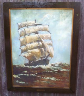 Large Framed Sail Ship Nautical Ocean Picture 1926 Royan Highway Of The Nations photo