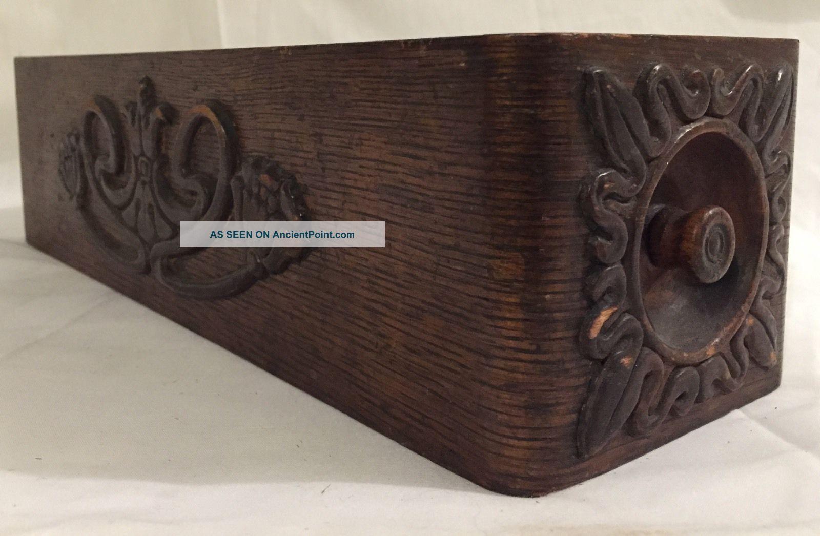 Vintage Singer Sewing Machine Drawer Dark Wood Ornate Treadle Left Side Drawer Other photo