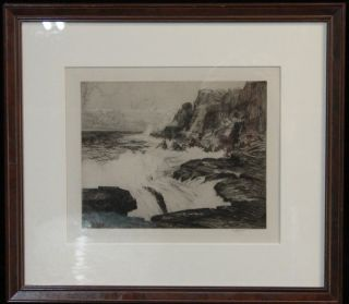 Vintage 1930 ' S California Coast Rocky Seascape Etching Print Listed C Jac Young photo