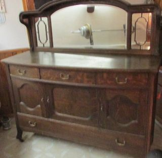 Vintage Antique Oak Sideboard Buffet Cabinet China Hutch N1732 Finish photo