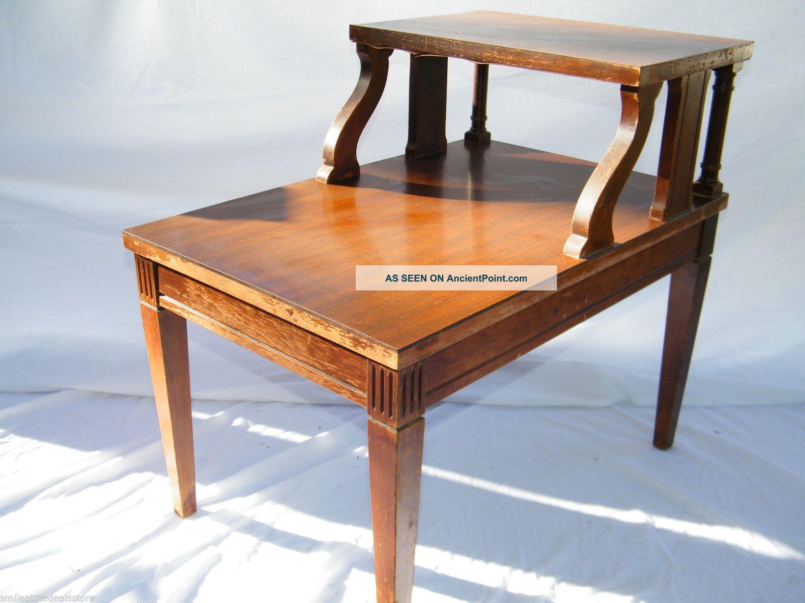 Image of: Antique Vintage 1950 S Mid Century Modern Mersman Mahogany 2 Tier End Table 7640