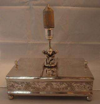 Humidor Dual Compartment Circa 1883 With Key Lock & Candle Stick Xmas Special photo