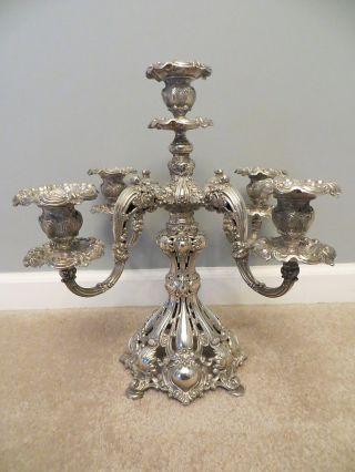 Estate Reed & Barton 4 Arm Candelabra 800 Silver Renaissance 1800 ' S Candlesticks photo