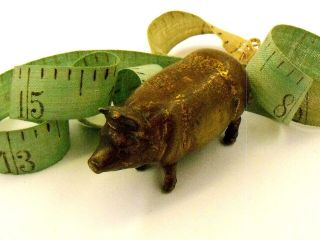 Antique Bronze Pig Measuring Tape,  Wind - Up Tail,  Figural Sewing Circa 1860 ' S photo