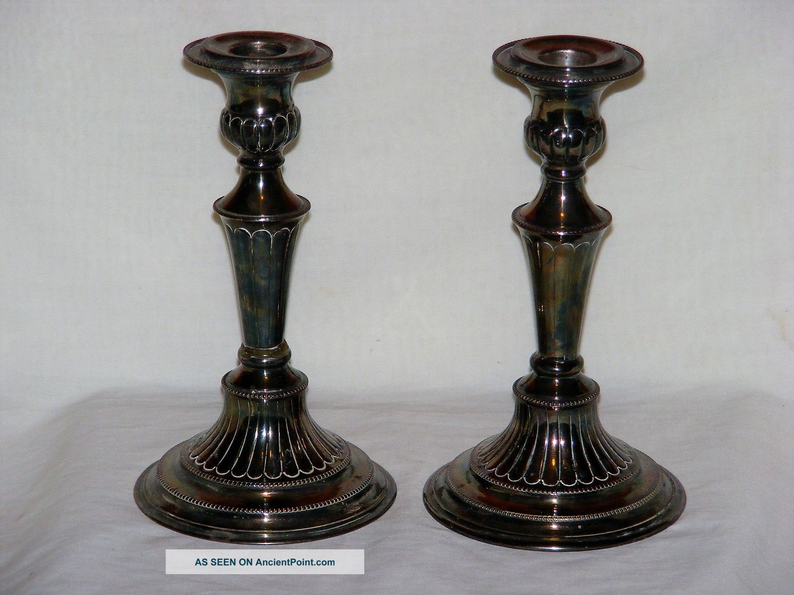 Folgate England Hand Chased Silverplate Candlestick Pair Antique 1800 ' S Candlesticks & Candelabra photo