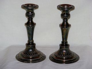Folgate England Hand Chased Silverplate Candlestick Pair Antique 1800 ' S photo