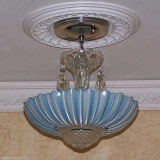 479 40s Vintage Ceiling Light Fixture Petite Chandelier Fixture Blue photo