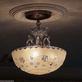 588 Vintage 40 ' S Ceiling Light Lamp Fixture Glass Fixture Chandelier Cream photo