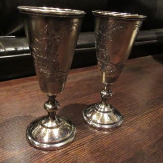 1893 Antique Set Of 2 Imperial Russian 84 Silver Niello Cup Goblet Cordial photo