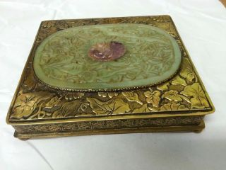 Antique Chinese Green Jade Gilt Copper Or Brass Box 1900 - 1940's photo