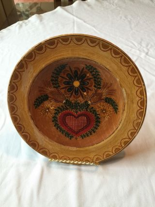 Rustic Vintage Hand Made & Hand Painted Unique Wooden Plate Deco photo