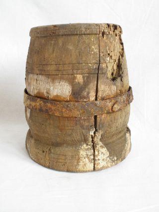 Antiques Primitives Antique Wooden Mortar Unique Combination Wrought Iron Rare photo