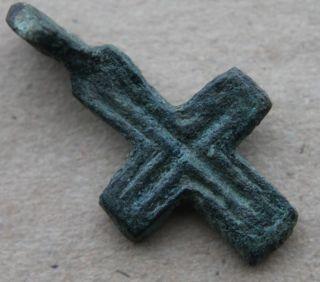 British Found Medieval Period Bronze Cross Pendant 1100 - 1300 Ad Vf+++ photo