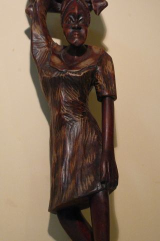 Old Rare Wood.  Large Statue African Woman.  Handmade. photo