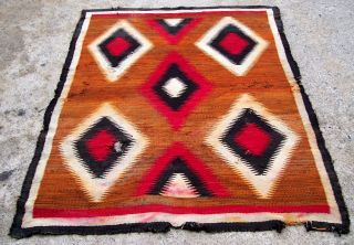 Antique Navajo Rug Interesting Bold Designs And Colors Size 4 ' 8