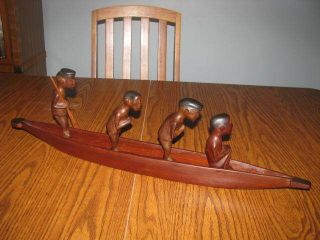 Vintage African Tribal Wood Model Canoe With 4 African Ethnic Figures Oars photo