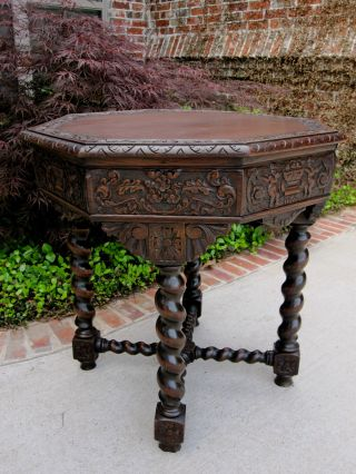 Antique French Renaissance Oak Octagonal Barley Twist Entry Hall Or Sofa Table photo