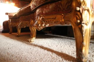 Antique Italian Rococco Sofa Canape Couch. . . .  Gilt Piered Brocade photo