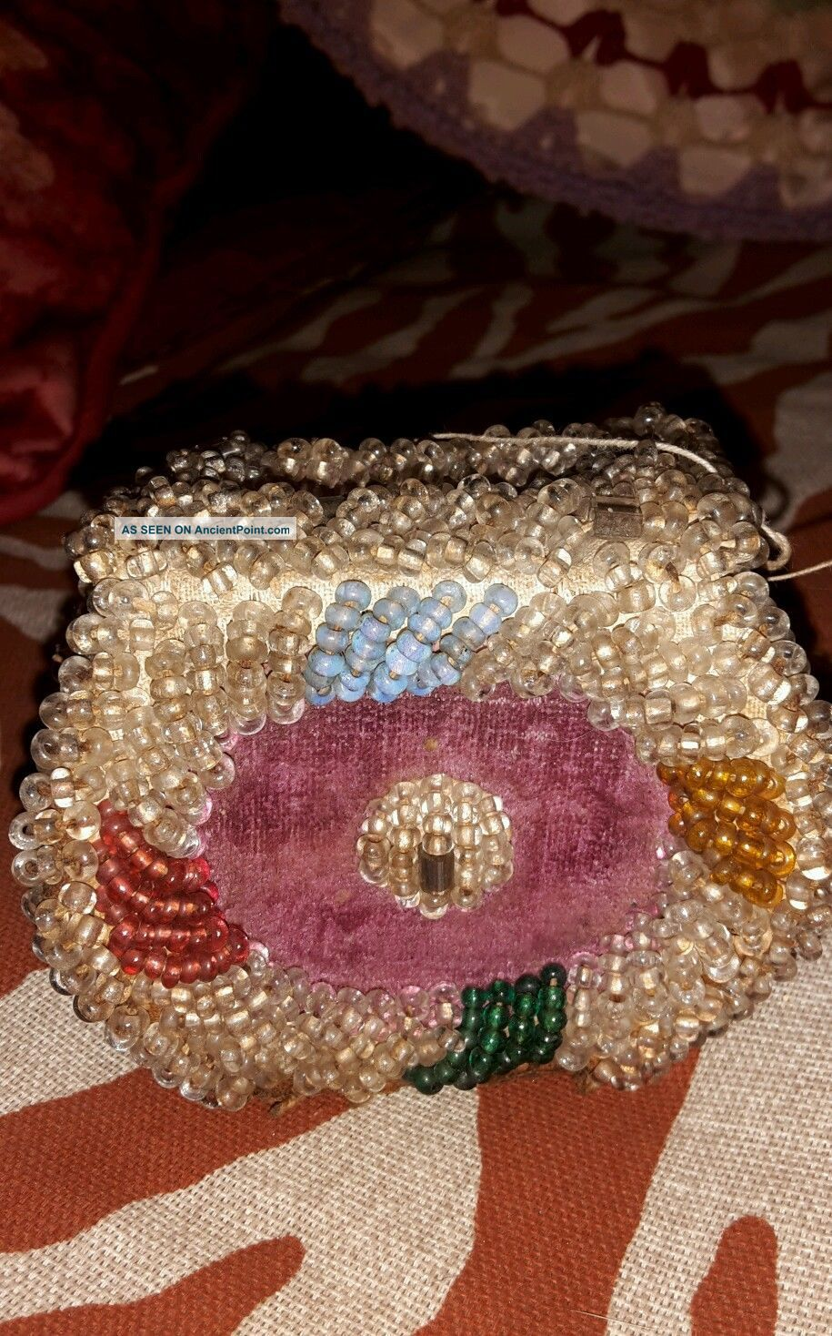 Antique Native American Indian Beaded Iroquois Beadwork Whimsy Box Bag Purse Native American photo