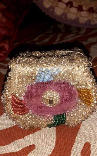 Antique Native American Indian Beaded Iroquois Beadwork Whimsy Box Bag Purse photo