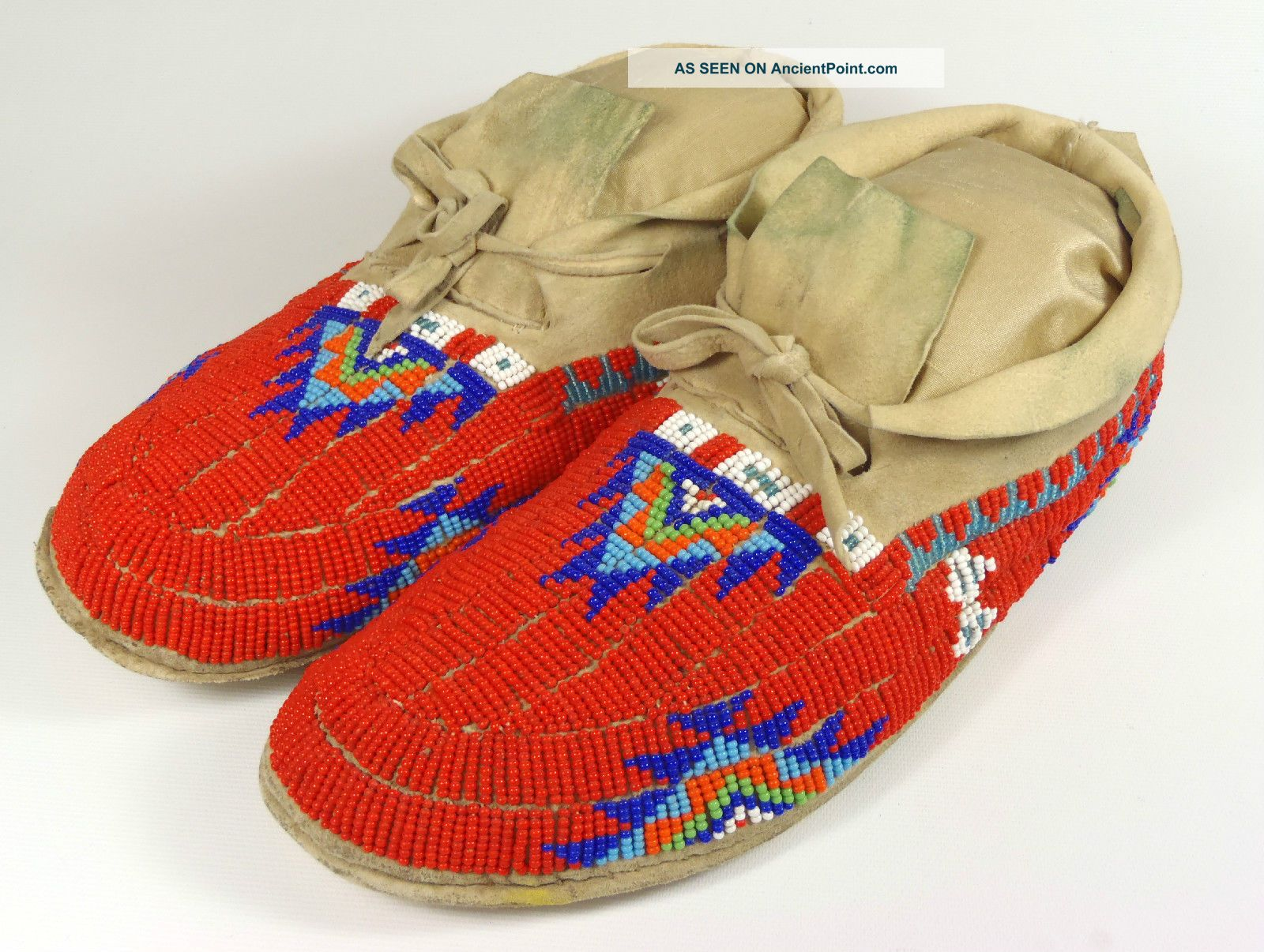 Rare Antique Plains Indian Native American Red Beaded Leather Moccasins Ornate Native American photo