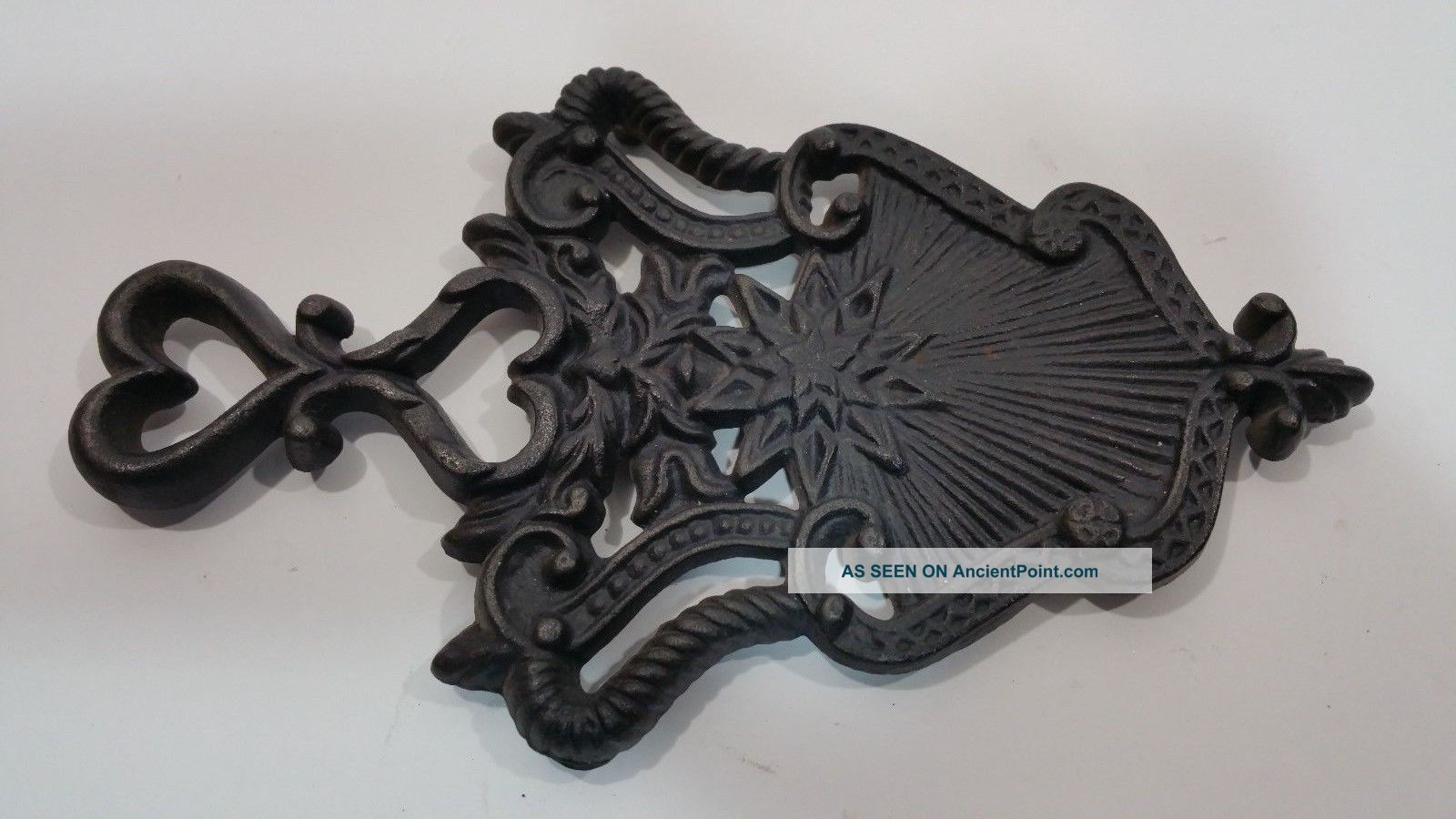 Vintage Wilton Cast Iron Footed Trivet Hearts/shield.  Solid Trivets photo