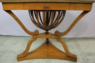 Empire Style Triangular Corner Table W/ Basket Side End Coffee Console Antique photo