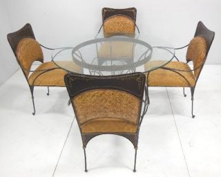 Glass Top Dinnette Dining Set Round Table 4 Chairs Iron Wicker Patio Garden photo