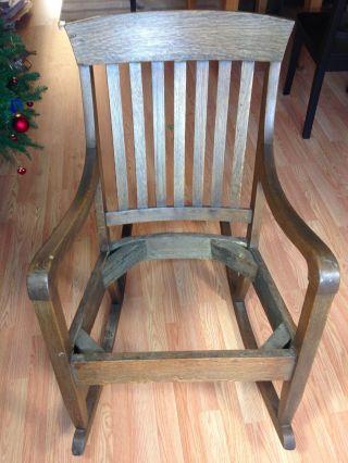 Antique Arts Crafts Mission Quartersawn Oak Rocking Chair Rocker Vtg Stickley photo