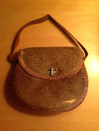 Two Vintage African Purses - Leather - Animal Hide - Small Purses photo