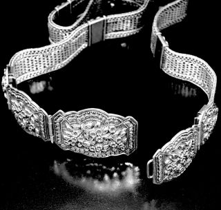 Antique Russian Imperial 84 Silver Woven Chain Belt 1875 - 1895 photo