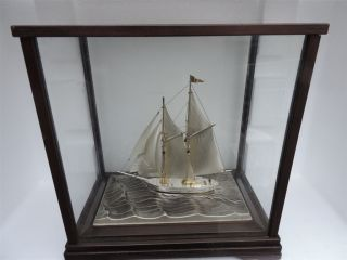 Finest Signed Japanese Two Masted Sterling Silver 960 Model Ship By Seki Japan photo