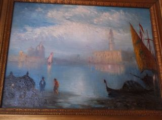 New York Artist George Henry Bogert 1864 1944 Silvery Morning Venice Painting Fs photo