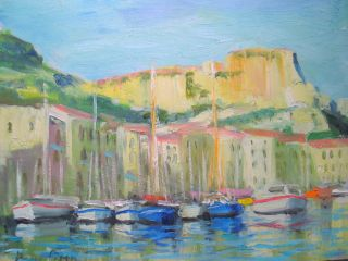Listed American Artist Oil Painting Of French Riviera Sargent Interest photo