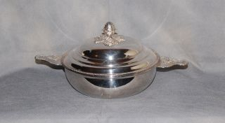 French Silverplate Ecuelle Covered Serving Bowl Beaded Musical Trophy Handles photo
