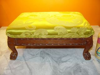 Antique French Louis Xv 1800s Ottoman Bench Foot Stool Mahogany Chartreuse Silk photo