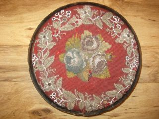 19th Century Footstool With English Bead Work Low Tiny Feet Foot Stool photo