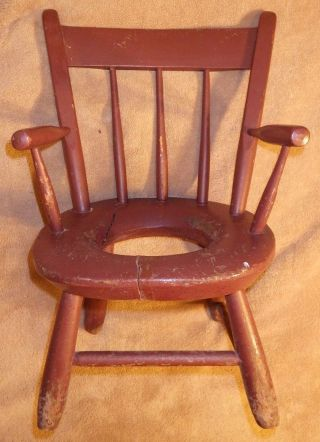 Antique Child ' S Thumb Back Windsor Potty Chair,  130 Y.  O.  (great X3 Grandfathers) photo
