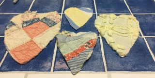 4 Primitive Hearts Vintage Cutter Quilts Various Sizes,  Colors,  Small Crafts photo