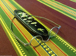 Antique Silver Spectacles Joseph Willmore Birmingham 1831 & Painted Treen Case photo