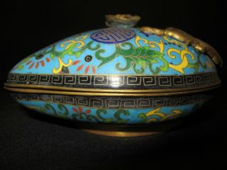 Antique Chinese Cloisonne Enamel Peach Form Box With Cover,  7