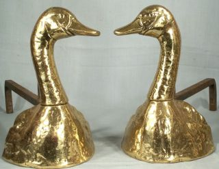 Sculptural Pair Mid Century Modern Figural Brass Duck Andirons/ Folk Art photo