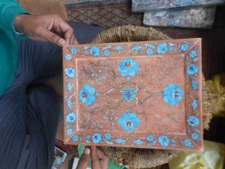 Marble Inlay Tray Pietradura Stone Inlaid Home Decoartive Plate For Wall Display photo