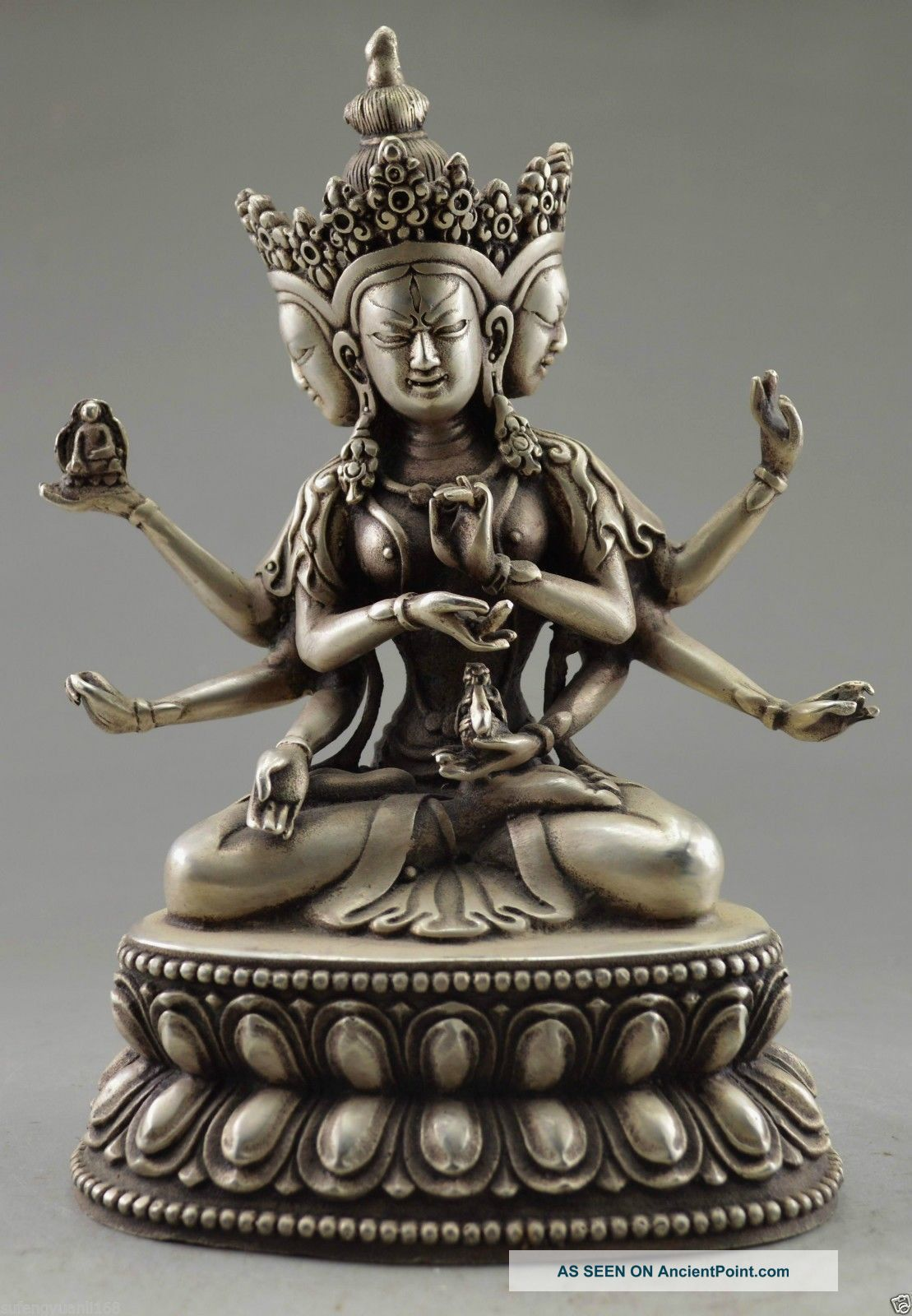 Collectible Decorated Old Handwork Tibet Silver Carve Buddha 3 Head 6 Arm Statue Buddha photo