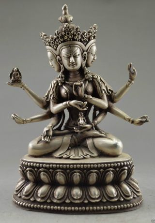 Collectible Decorated Old Handwork Tibet Silver Carve Buddha 3 Head 6 Arm Statue photo