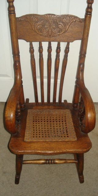 Antique Oak Rocking Chair (child Size) With Cane Seat Circa 1900 photo