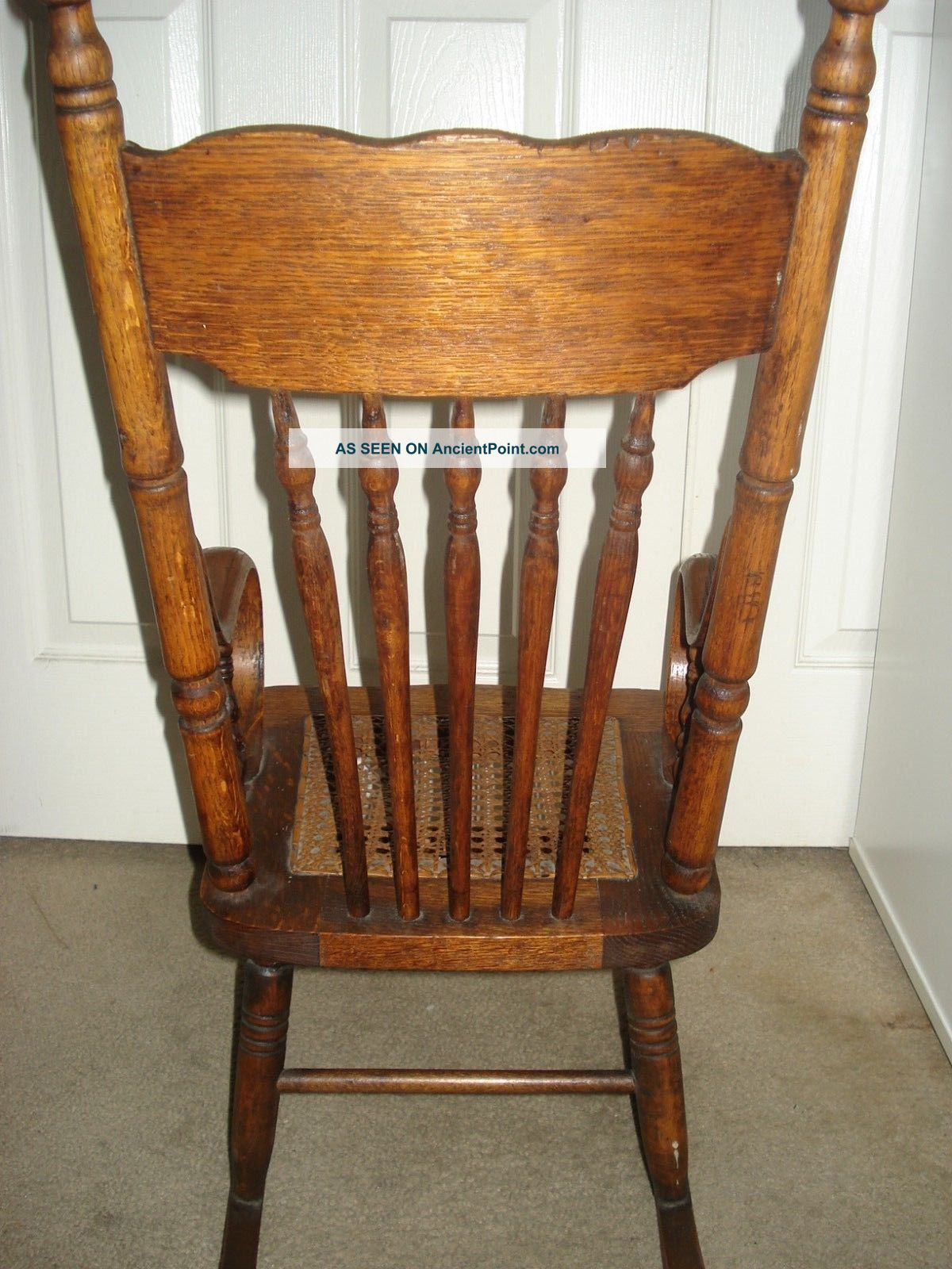 Antique Oak Rocking Chair (child Size) With Cane Seat Circa 1900 1900 . Full resolution  image, nominally Width 1200 Height 1600 pixels, image with #B77714.